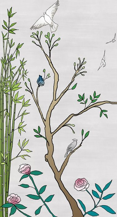 Casart coverings_Chinoiserie Mural Panel 1_color-silver raw silk_464x864_temporary wallpaper