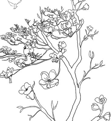 Casart coverings_Chinoiserie Mural Panel 2_Contour Lines_464x864_removable wallpaper