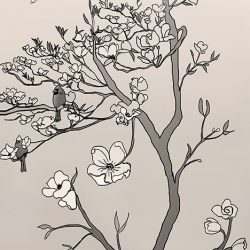 Casart coverings_Chinoiserie Mural Panel 2_sepia_464x864_removable wallpaper