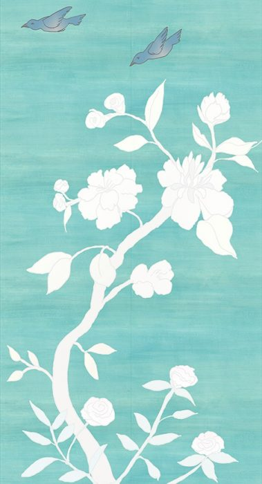 Casart coverings_Chinoiserie Mural Panel 3_desaturated--teal raw silk_464x864_removable wallpaper