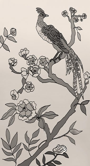 Casart coverings_Chinoiserie Mural Panel 4_sepia_464x864_removable wallpaper
