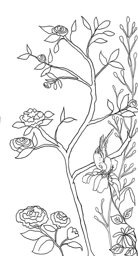 Casart coverings_Chinoiserie Mural Panel 5_Contour Lines_464x864_removable wallpaper