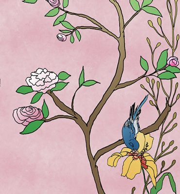 Casart coverings_Chinoiserie Mural Panel 5_color-dustyroseCW_464x864_removable wallpaper