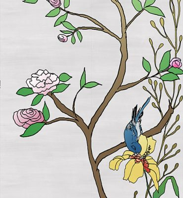 Casart coverings_Chinoiserie Mural Panel 5_color-silver raw silk_464x864_removable wallpaper