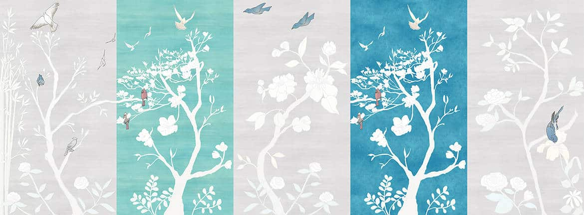 Casart coverings_Chinoiserie Panel Mural mix Combos_temporary wallpaper