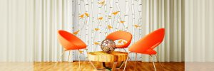 Casart Removable Reusable Wall Covings in Birds and Birch pattern