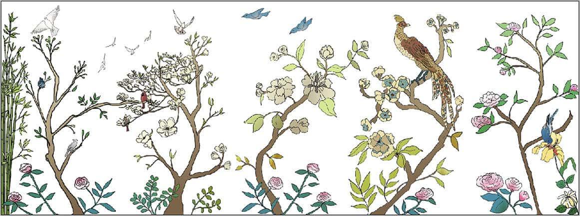 Casart coverings Chinoiserie 1- 5 Full Mural Panels_color-white_temporary wallpaper