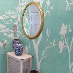 Casart Coverings Chinoiserie Teal Raw Silk Mural Panels full room view removable wallpaper