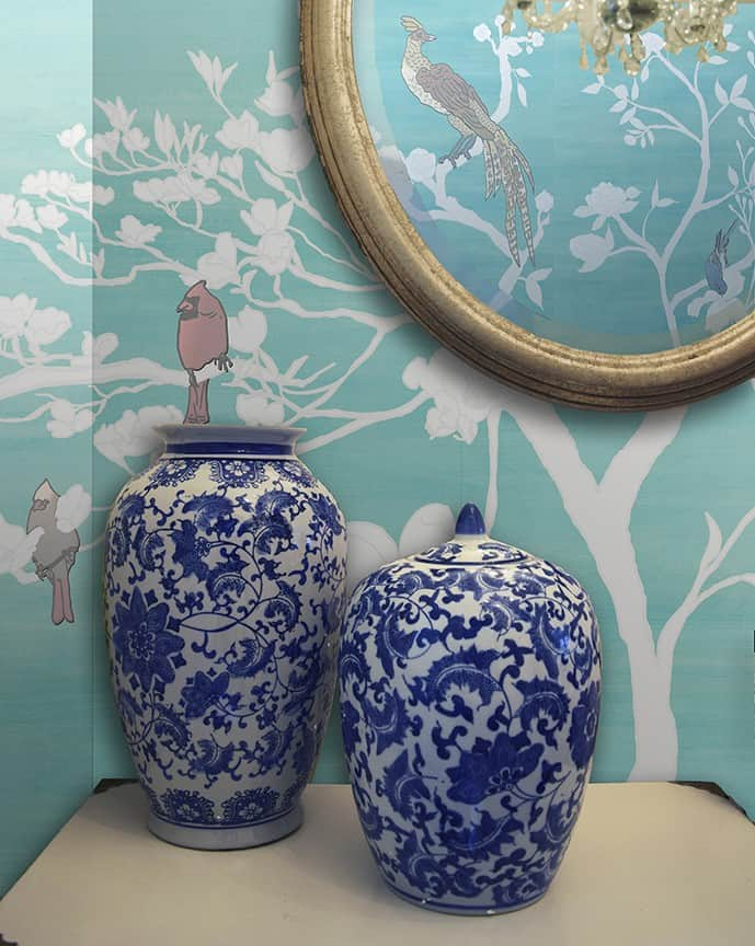 Casart coverings Chinoiserie Mural Panels White-Teal Raw Silk Room View_removable wallpaper