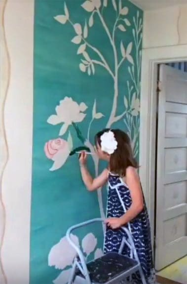 Chinoiserie removable wallpaper from Casart Coverings is a giant interactive wall coloring book with paint
