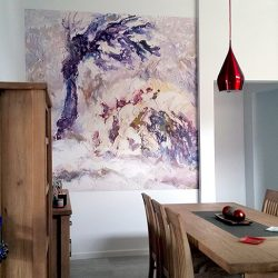 Casart customer After Impasto Tree Mural in Kitchen3 with self-adhesive Casart wallpaper