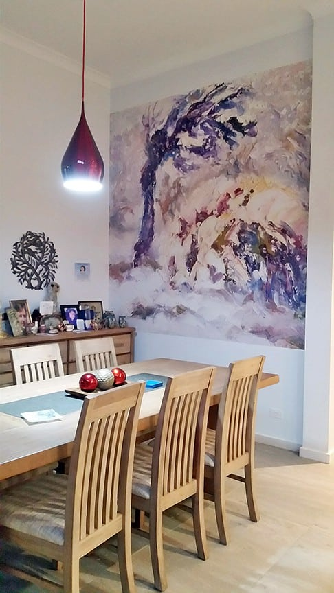 Casart customer After Impasto Tree Mural in Kitchen2 with self-adhesive wallpaper
