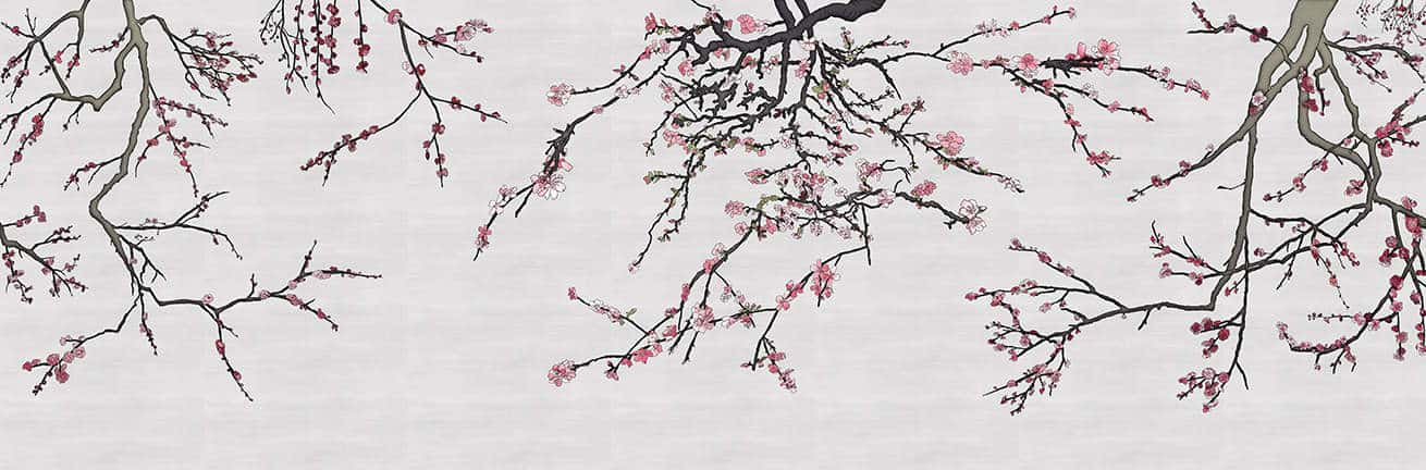 Asia Blossom Plum Almond Branches Mural Pink and Silver Raw Silk_Casart Coverings temporary wallpaper