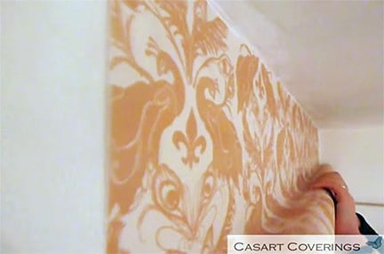 Casart Coverings Damask_Installation Step 1 apply to wall