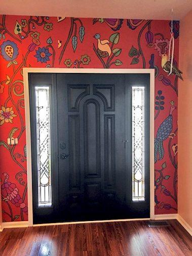 Casart Coverings Customer after installing Kristin Nicholas Mural Garden BIrds