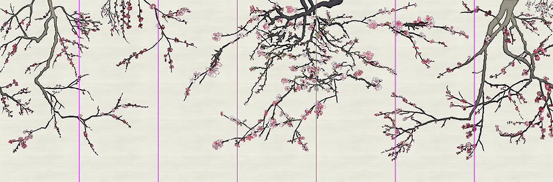 7 Panel Asia Blossom Layout_Casart Coverings removable wallpaper