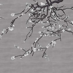 Asia Blossom Plum Almond Branches Mural White and Pewter Gray Raw Silk_Casart Coverings temporary wallpaper