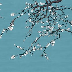Asia Blossom White Plum Almond Blossom in Van Gogh Blue Raw Silk_Casart Coverings temporary wallcovering