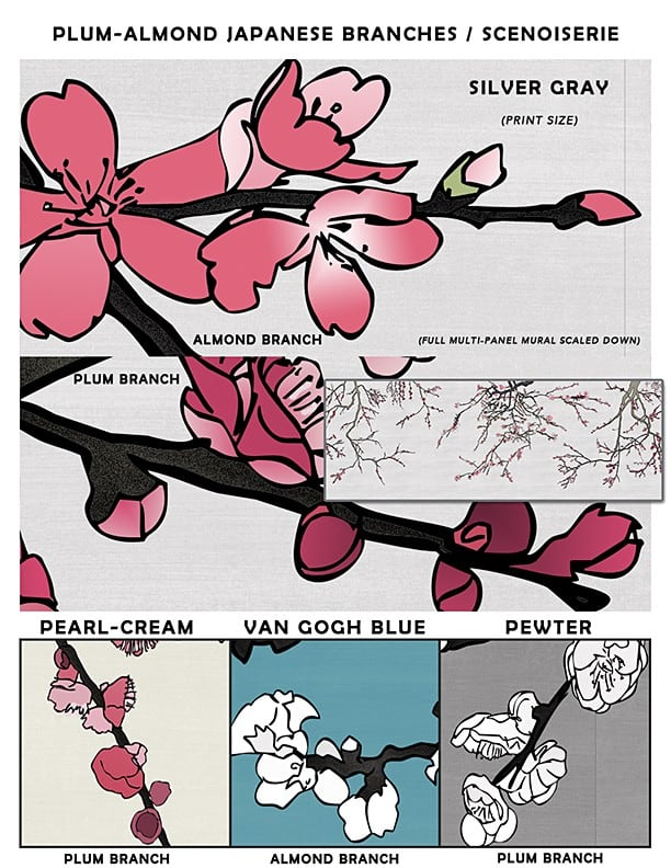 Asia Blossom Plum-Almond Branches Sample_Casart Coverings removable wallpaper
