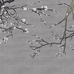 Asia Blossom_Pewter-White-Blossom removable wallpaper mural_Casart Coverings