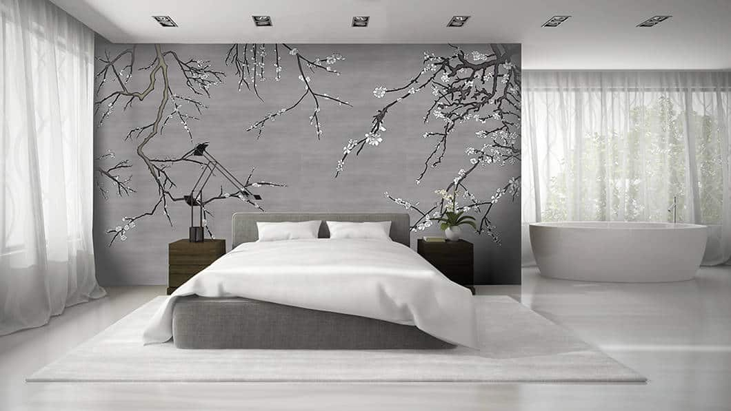 Interior Of Modern Bedroom With Asia Blossom Charcoal White Casart Coverings Temporary Wallpaper