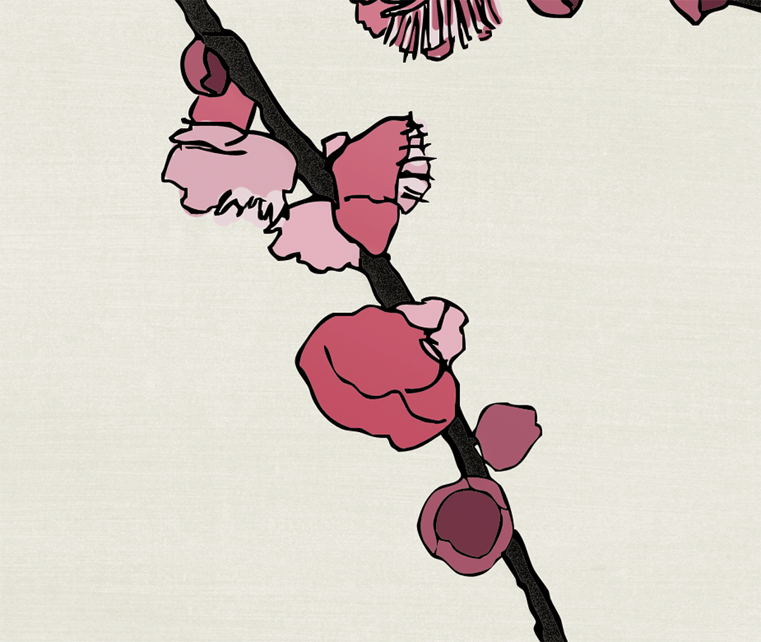 Colored Plum Asia Blossom Details with Pearl Cream Raw Silk_Casart Coverings removable wallpaper