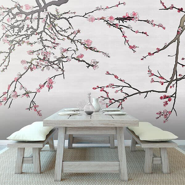 Casart Coverings colored Asia Blossom Silver raw silk temporary wallpaper