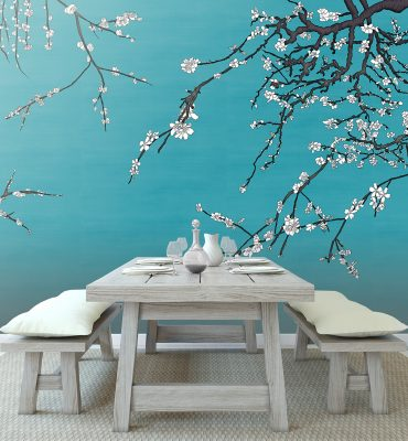 Casart Coverings White Asia Blossom Van Gogh Blue Raw Silk temporary wallpaper in rustic dining room