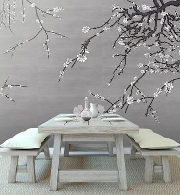 Casart Coverings white Asia Blossom Pewter raw silk temporary wallpaper