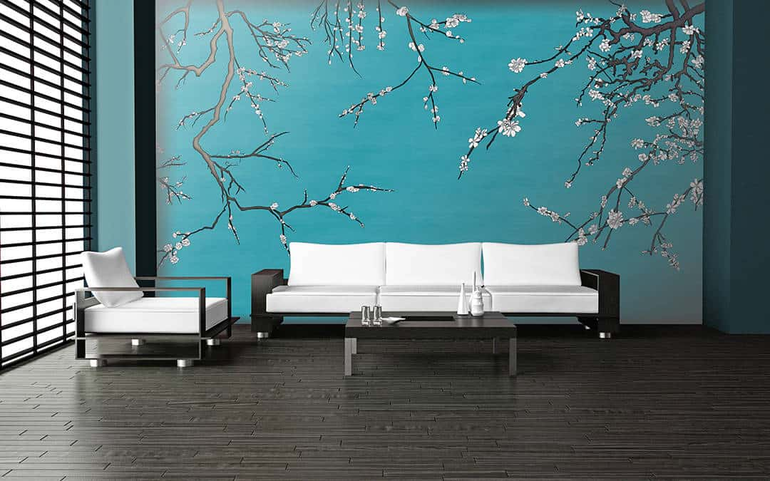 Casart Coverings temporary wallpaper Van Gogh Blue and White Asia Blossom in modern living room