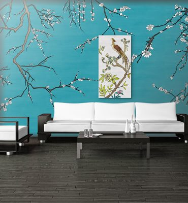 Casart Coverings Gallery Wrap Canvas in Mod Asia Blossom Living Room