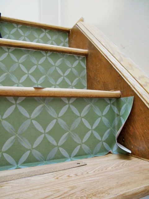 Installation With Custom Casart Coverings Moroccan Wallpaper To Revamp  Stairs