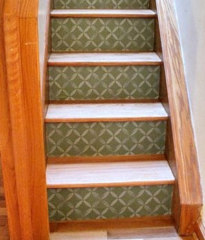 Revamp stairs with Casart Coverings custom xoxo wallpaper on risers