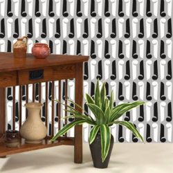 POZdesigns Keyhole bw room_Casart Coverings temporary wallpaper