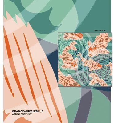 Koi fish Pond Mural Sample_POZdesigns for Casart Coverings peel and stick wallpaper