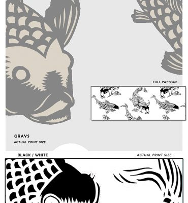 Koi fish Sample_POZdesigns for Casart Coverings temporary wallpaper