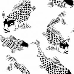 Black-white Koi fish pattern POZdesigns for Casart Coverings removable wallpaper