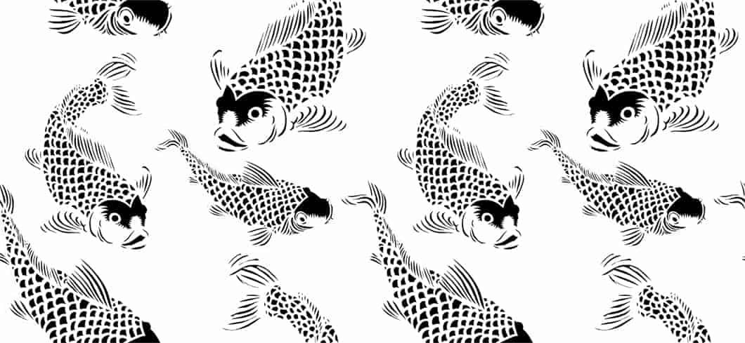 Black White Koi Fish Pattern POZdesigns For Casart Coverings Removable Wallpaper