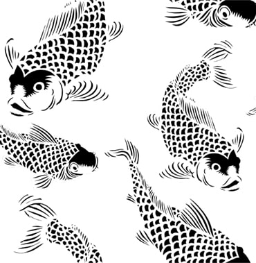 Black-white Koi fish POZdesigns for Casart Coverings removable wallpaper