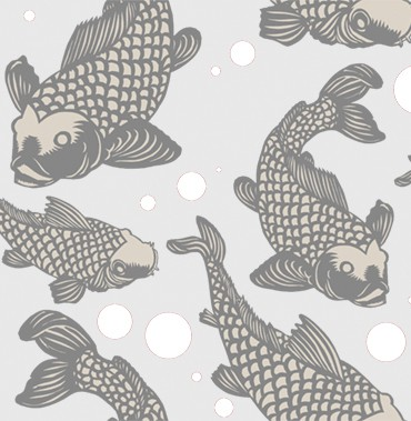Grays Koi fish POZdesigns for Casart Coverings removable wallpaper