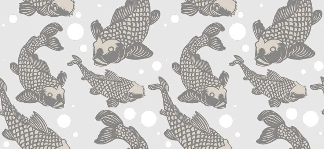 Grays Koi fish pattern POZdesigns for Casart Coverings removable wallpaper