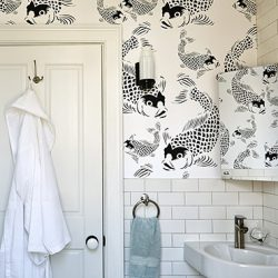 Koi fish bathrm feature POZdesigns for Casart Coverings removable wallpaper
