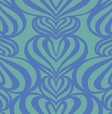 Lovelace Blue-Turquoise Pattern 2 POZdesigns for Casart Coverings removable wallpaper