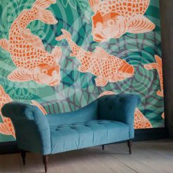 POZdesigns_Koifish Pond Mural Room_Casart Coverings self-adhesive wallpaper
