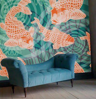 POZdesigns_Koifish Pond Mural Room_Casart Coverings self-adhesive wallpaper