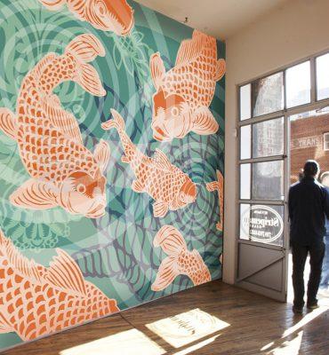 POZdesigns_Koi Fish Pond Mural Casart Coverings self-adhesive mural in Gallery