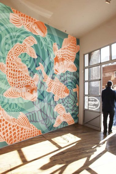 POZdesigns_Koi Fish Pond Mural Casart Coverings self-adhesive mural in Gallery