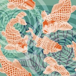 Koi fish pond Mural feature POZdesigns for Casart Coverings removable wallpaper
