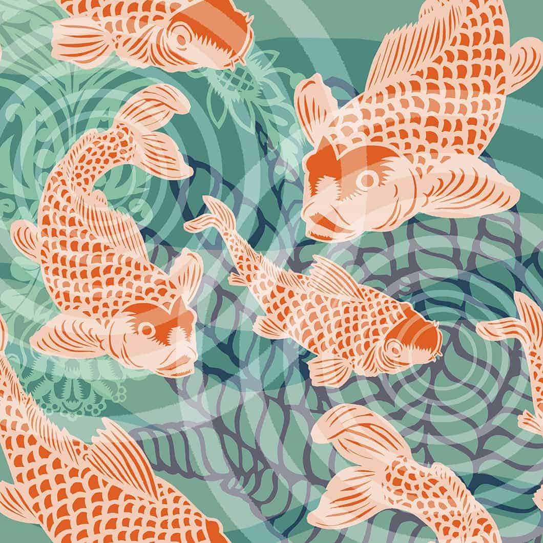 Koi fish pond Mural POZdesigns for Casart Coverings removable wallpaper