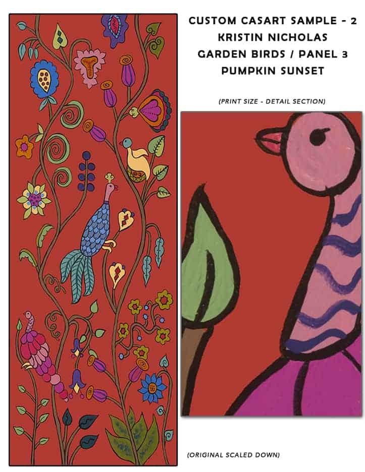Casart Coverings Custom Kristin Nicholas Garden Birds_Pumpkin Sunset Sample2